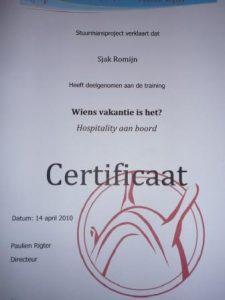 certificate hospitality